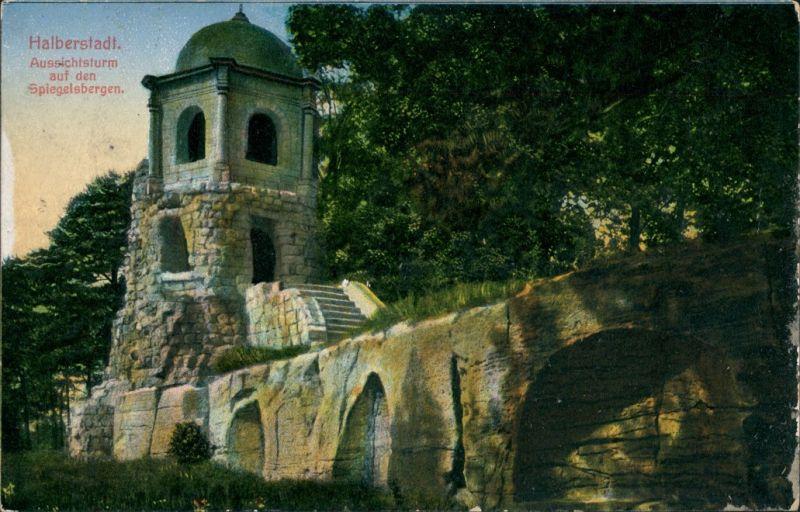 Ansichtskarte Halberstadt Aussichtsturm auf den Spiegelsbergen 1916