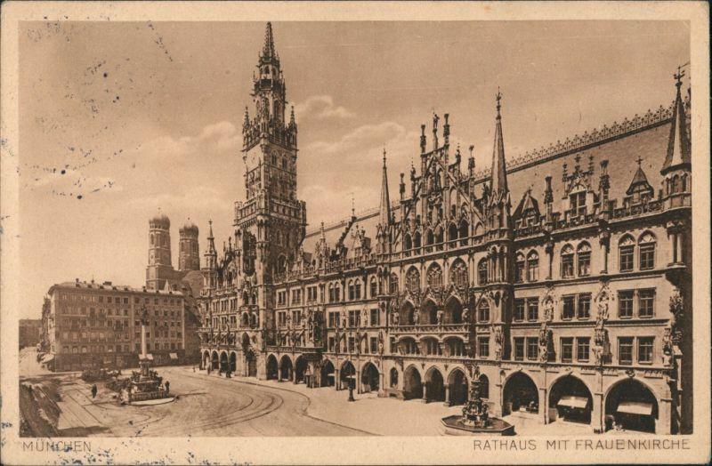 Ansichtskarte München Rathaus mit Frauenkirche 1929