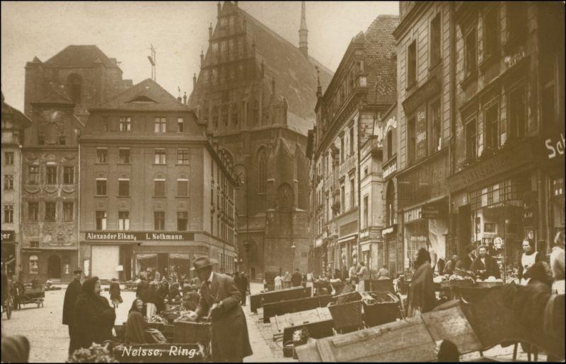 Postcard Neisse (Neiße) Nysa Markttreiben auf dem Ring - Foto AK 1918
