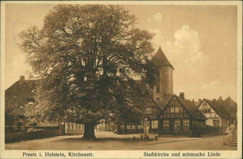 Ansichtskarte Preetz Straßenpartie - schmucke Linde und Stadtkirche 1916
