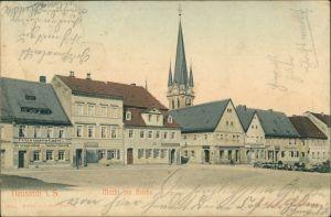Ansichtskarte Neustadt (Sachsen) Geschäfte, Markt u. Kirche 1903