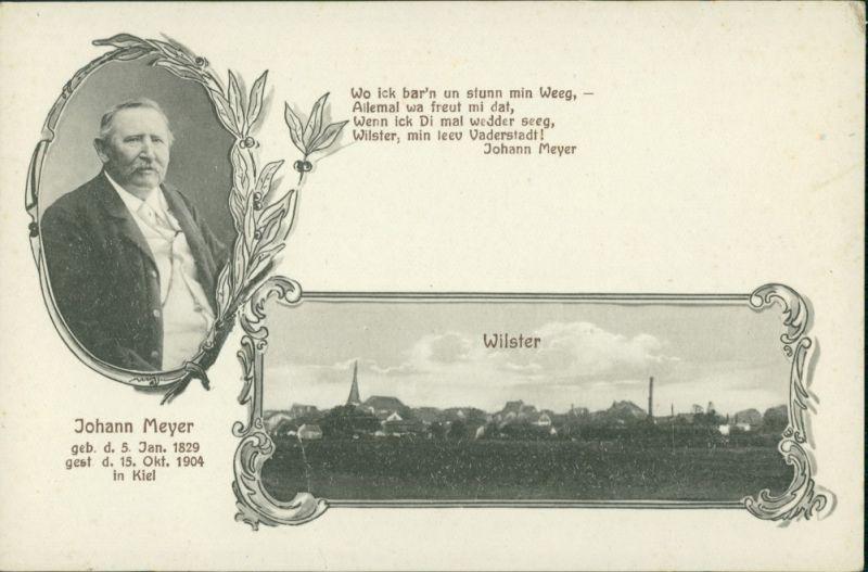 Ansichtskarte Wilster 2 Bild: Porträt Johann Meyer, Stadt 1904