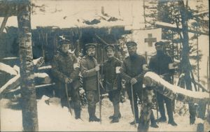 .Russland Soldaten vor Behelfslazarett im Winter WK1 Rußland 1914