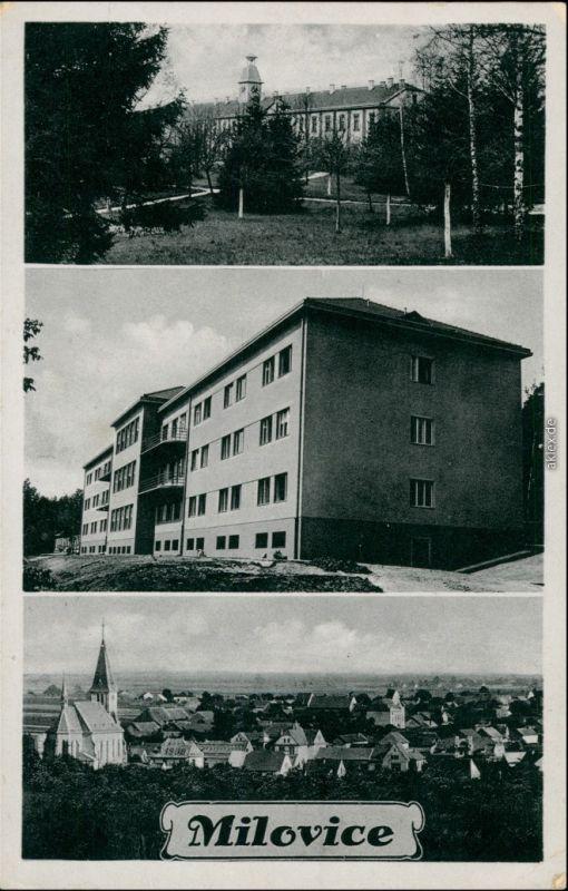 Postcard Milowitz Milovice nad Labem 3 Bild: Schloß, Haus, Stadt 1938