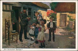 Ansichtskarte  Militär-Künstlerkarte ein deutscher Barbar 1916