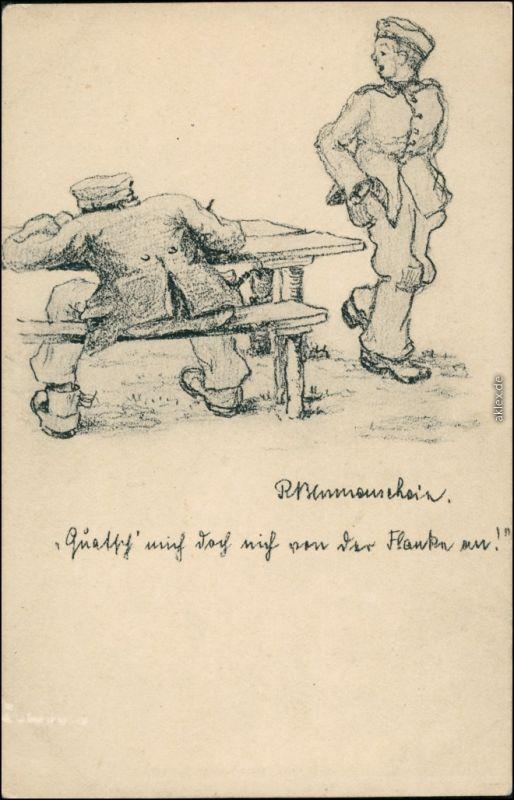 Ansichtskarte  Serz, Künstlerkarte - Soldaten WK1 1916