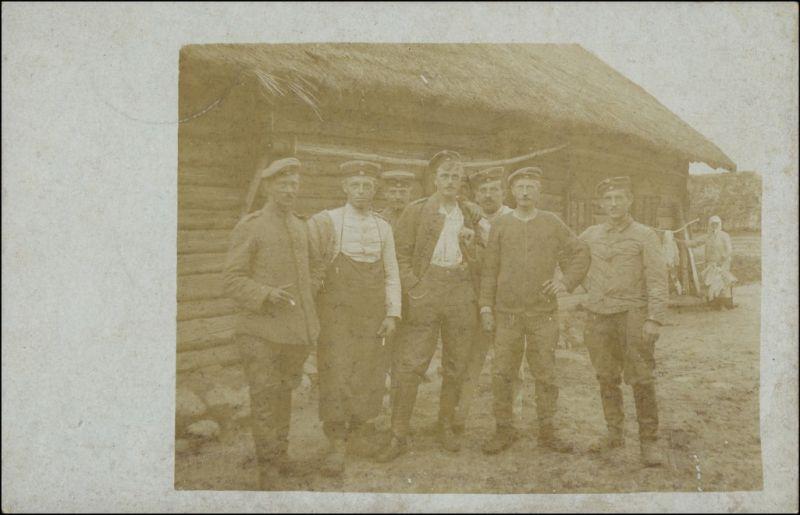 .Russland Soldaten russisches Dorf - Bauern - WK1 1915 Privatfoto