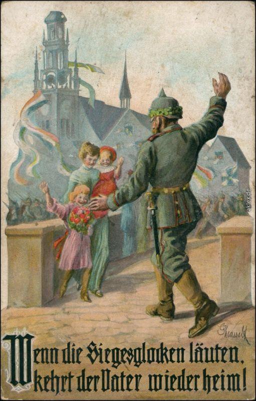Ansichtskarte  Künsterkarte: Wenn die Siegesglocken läuten WK1 1915