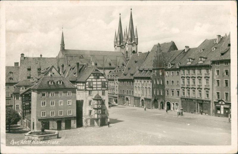 Postcard Eger Cheb Adolf Hitler-Platz 1950