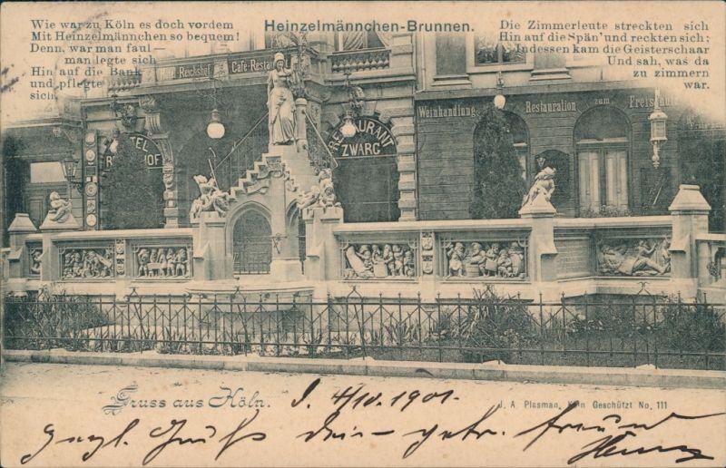 Ansichtskarte Köln Restaurant Zwarc - Heinzelmännchen Brunnen 1901
