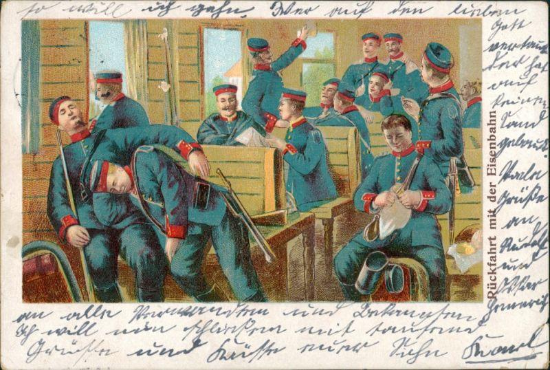 Ansichtskarte  Soldaten - Rückfahrt mit der Eisenbahn 1914