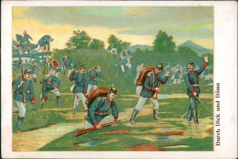 Ansichtskarte  Künstlerkarte Militaria: Durch Dick und Dünn 1908