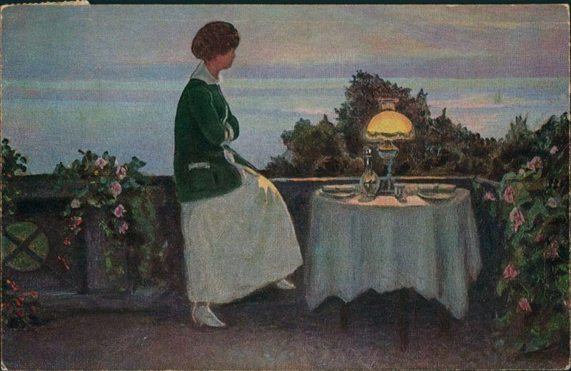 Künstlerkarte: Gemälde / Kunstwerke - Erwartungsvoll - Han Ventes 1929