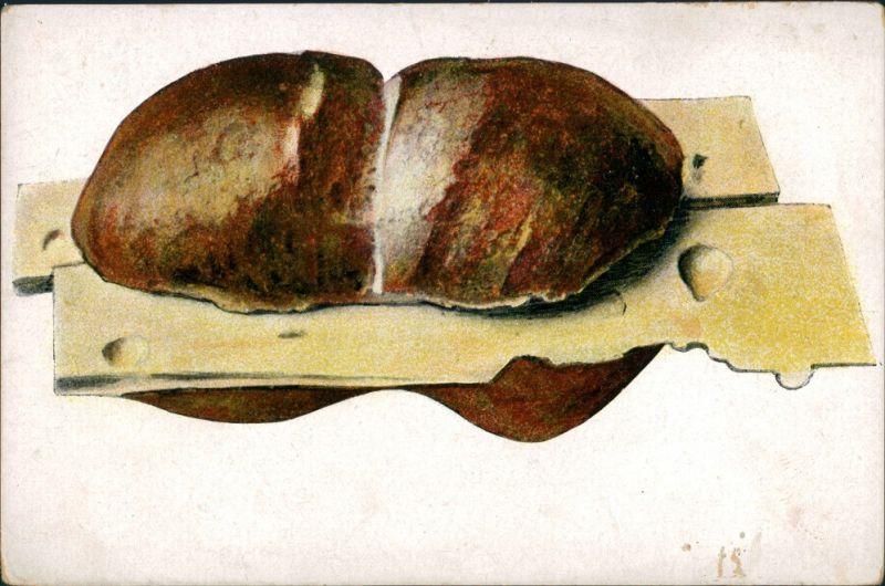 Ansichtskarte  Käsebrötchen Semmel Schrippe Stillleben 1900