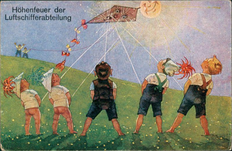 Ansichtskarte  Scherzkarten - Jungs - alle auf den Drachen 1914