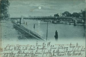 Ansichtskarte Holtenau-Kiel Holtenå Mondscheinlitho Kaiser Wilhelm Kanal 1899