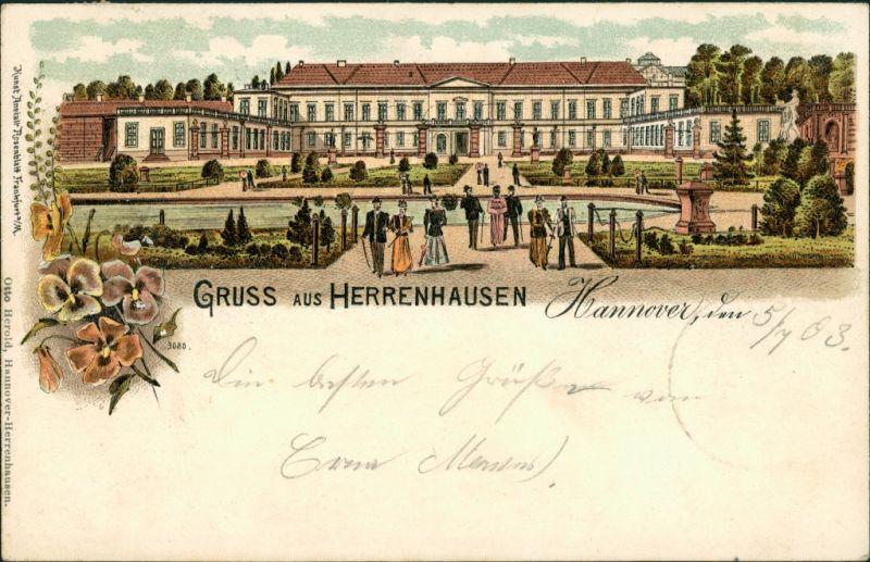 Litho AK Herrenhausen-Hannover Litho AK: Schloss Herrenhausen 1903