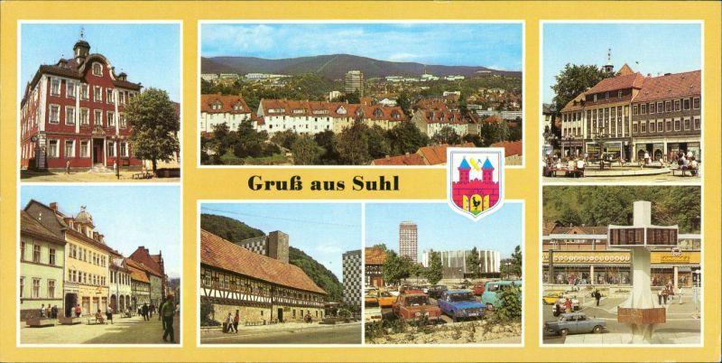 Suhl Rathaus, Steinweg, Waffenmuseum, Stadthalle, Digitaluhr 1989