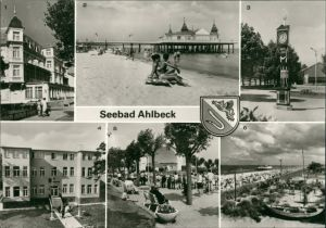 Ahlbeck (Usedom) FDGB-Erholungsheim  Seebrücke Stranduhr c1982