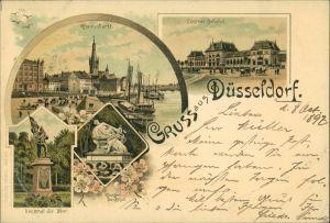 Düsseldorf Rhein-Werft, Central-Bahnhof, Denkmal der 39er, Krieger-Denkmal 1897