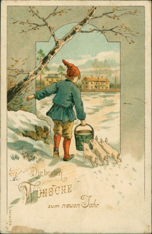 Ansichtskarte  Neujahr - Zwerg und Glücks-Schweine 1908