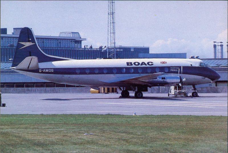 Ansichtskarte  Flugzeug G-AMOG C/n 7 Vickers 701 Viscount B.O.A.C. 1980