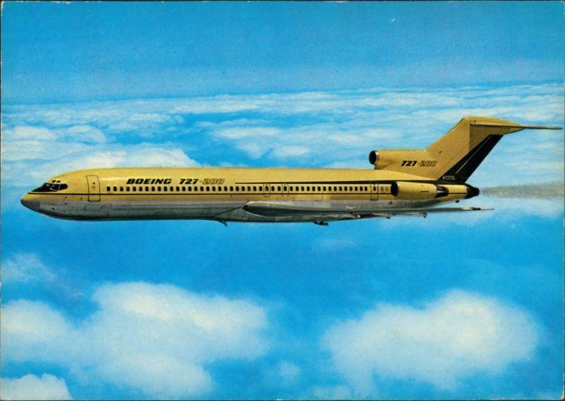 Ansichtskarte  Flugzeug BOEING 727-200 yellow, gelb 1990