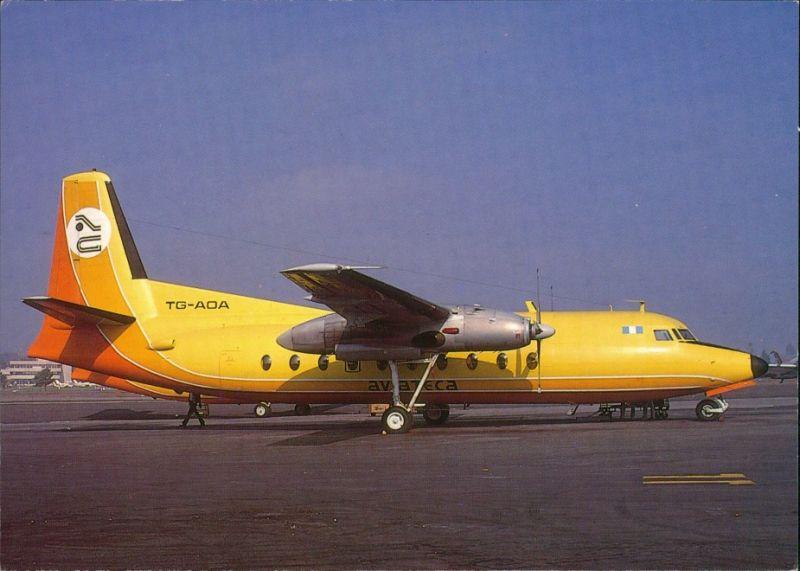 Ansichtskarte  Propellerflugzeug Fokker F27 MK 200 AVIATECA TG-AOA 1990