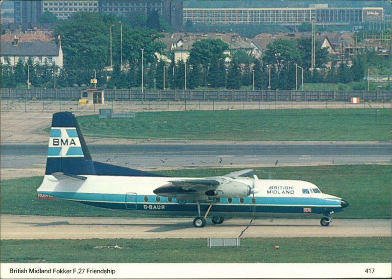 Ansichtskarte  Propellerflugzeug British Midland Fokker F.27 Friendship 1990