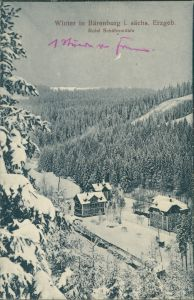 Oberbärenburg-Altenberg (Erzgebirge) Winterpartie Hotel Schäfermühle 1912