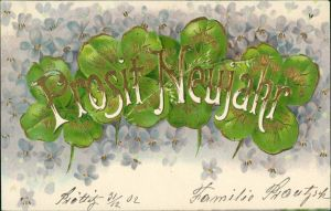 Feilchen und Kleeblätter Prosit Neujahr - Prägekarte 1902 Goldrand
