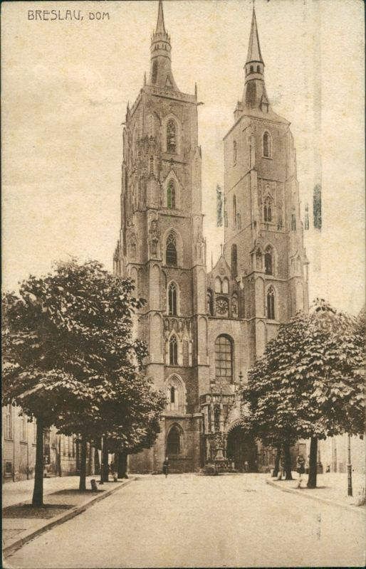 Postcard Breslau Wrocław Partie am Dom 1926