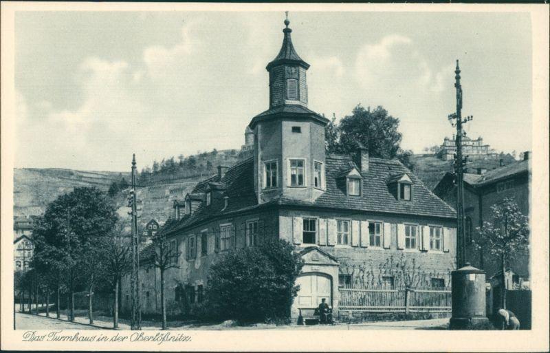 Ansichtskarte Oberlößnitz-Radebeul Straßenpartie - Das Turmhaus 1928