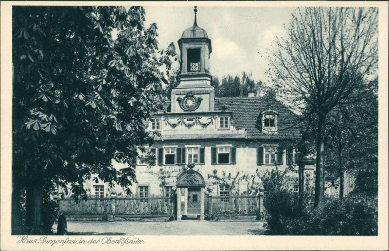 Ansichtskarte Oberlößnitz-Radebeul Haus Villa Sorgenfrei 1928