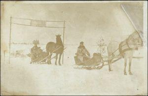 Soldaten auf Pferdeschlitten Rußland Privatfoto Scheinwerferzug 283 1917