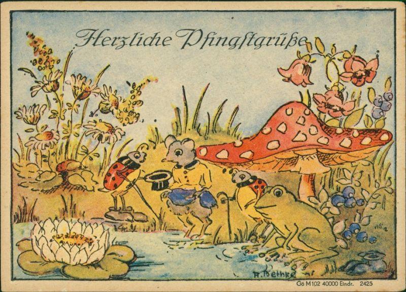 Ansichtskarte  Pfingstgrüße - Künstlerkarte (A. Bethke) 1940