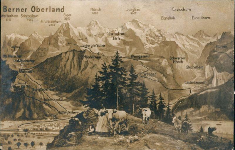 Berner Oberland Schweiz - Bern - Berner Oberland - Bergmassiv 1925