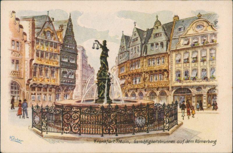 Ansichtskarte Frankfurt am Main Gerechtigkeitsbrunnen auf dem Römerberg 1922
