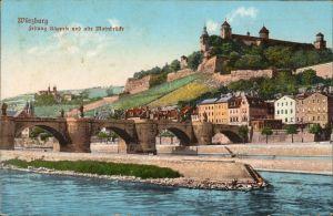 Ansichtskarte Würzburg Festung Käppele und alte Mainbrücke 1913