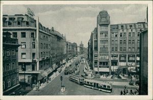 Postcard Prag Praha Graben - Straßenbahn 1934
