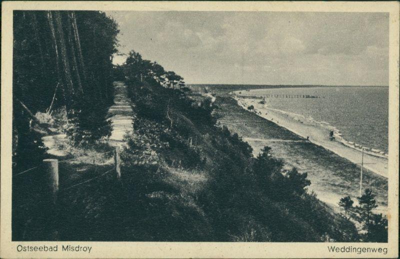 Postcard Misdroy Międzyzdroje Strand Weddingenweg 1928