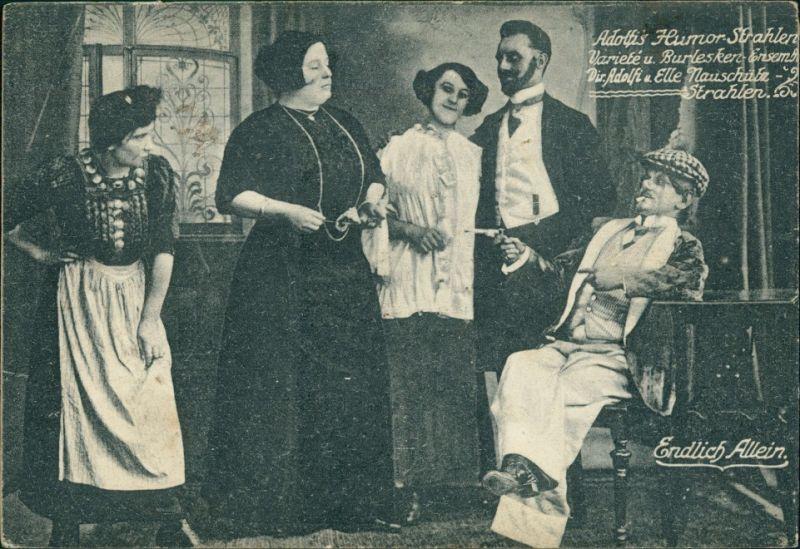 Ansichtskarte  Scherzkarte Adolfs Humor Strahlen - Endlich Allein 1912