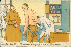 Ansichtskarte  Scherzkarte Militär Frankreich beim Arzt 1955