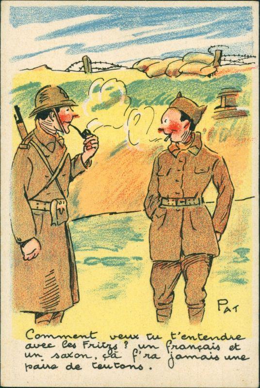 Ansichtskarte  Rauchende Soldaten - Scherzkarte Frankreich Francaise 1955