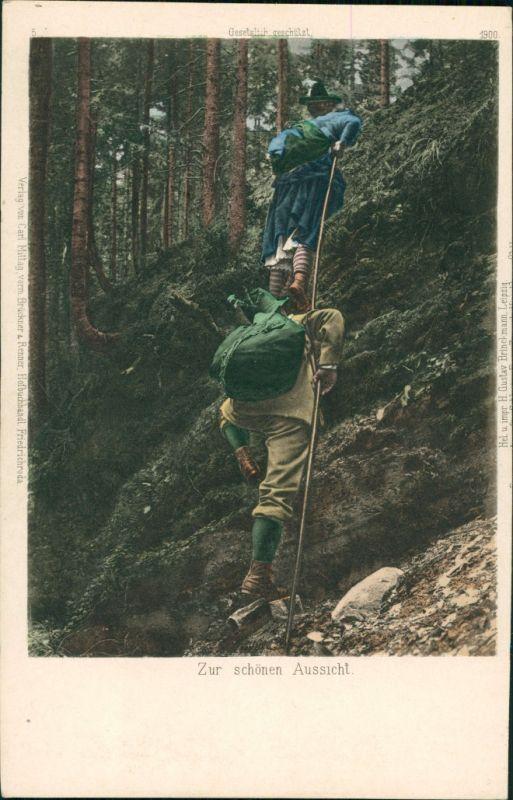 Ansichtskarte  Bergsteiger - Zur schönen Aussicht 1908
