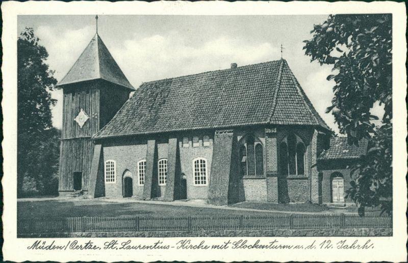 Ansichtskarte Müden (Örtze)-Faßberg Partie an der Kirche 1928