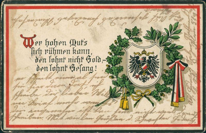 Foto  Patriotika: Reichsadler: wer hohen Mutes - WK1 1917 Privatfoto