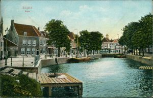 Postkaart Sluis Kade, Kanal und Straße 1914