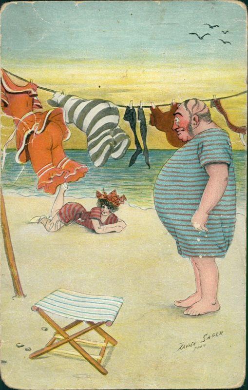 Ansichtskarte  Scherzkarte Mann Frau am Strand Wäsche Künstlerkarte 1912