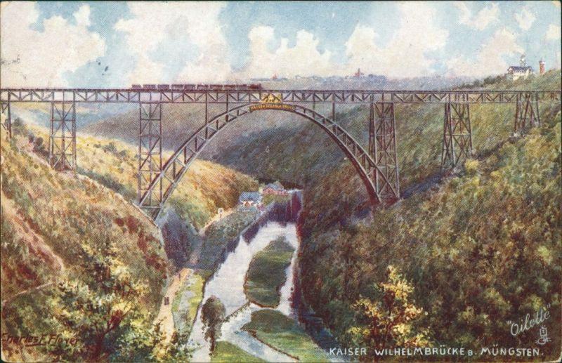 Remscheid Müngstener Brücke | Kaiser-Wilhelm-Brücke - Künstlerkarte 1907